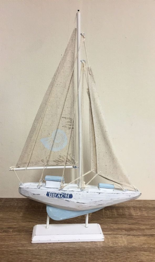 White & Blue 43cm BEACH Distressed Boat Nautical Ornament